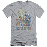Sesame Street Colorful Group Adult 30/1 T-Shirt Athletic Heather