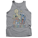 Sesame Street Colorful Group Adult Tank Top T-Shirt Athletic Heather