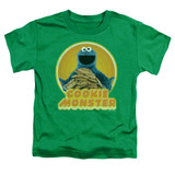 Sesame Street Cookie Iron On Toddler T-Shirt Kelly Green