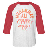 Muhammad Ali Butterfly and Bee White Heather/Vintage Red Raglan Baseball T-Shirt