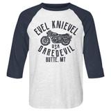 Evel Knievel Usa Daredevil White Heather/Vintage Navy Raglan Baseball T-Shirt