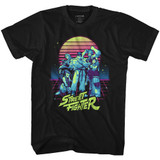 Street Fighter Synthwave Fighter Black Adult T-Shirt