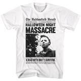 Halloween Haddonfield Herald White Adult T-Shirt