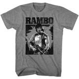 Rambo Black And White Graphite Heather Adult T-Shirt
