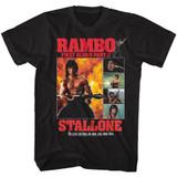 Rambo Part II Collage Black Adult T-Shirt
