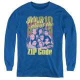 Beverly Hills 90210 Zip Code Youth Long Sleeve T-Shirt Royal Blue