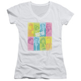Beverly Hills 90210 Color Block Of Friends Junior Women's V-Neck T-Shirt White