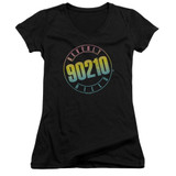 Beverly Hills 90210 Color Blend Logo Junior Women's V-Neck T-Shirt Black