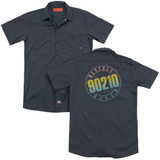 Beverly Hills 90210 Color Blend Logo (Back Print) Adult Work Shirt Charcoal