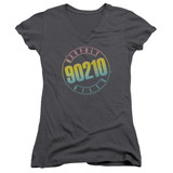 Beverly Hills 90210 Color Blend Logo Junior Women's V-Neck T-Shirt Charcoal
