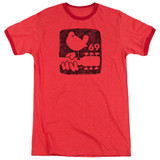 Woodstock Summer 69 Adult Heather Ringer T-Shirt Red - Clearance
