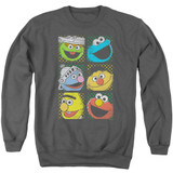 Sesame Street Group Squares Adult Crewneck Sweatshirt Charcoal