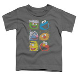 Sesame Street Group Squares Toddler T-Shirt Charcoal