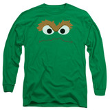 Sesame Street Oscar Face Adult Long Sleeve T-Shirt Kelly Green