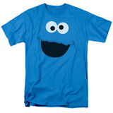 Sesame Street Cookie Monster Face Adult 18/1 T-Shirt Turquoise