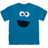 Sesame Street Cookie Monster Face Youth T-Shirt Turquoise