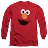 Sesame Street Elmo Face Adult Long Sleeve T-Shirt Red