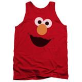 Sesame Street Elmo Face Adult Tank Top T-Shirt Red