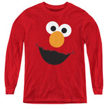 Sesame Street Elmo Face Youth Long Sleeve T-Shirt Red