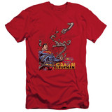 Superman Breaking Chains Adult 30/1 T-Shirt Red
