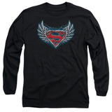 Superman Steel Wings Logo Adult Long Sleeve T-Shirt Black