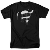 Superman Dripping Shield Adult 18/1 T-Shirt Black