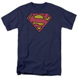 Superman Distressed Shield Adult 18/1 T-Shirt Navy