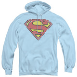 Superman Distressed Shield Adult Pullover Hoodie Sweatshirt Light Blue