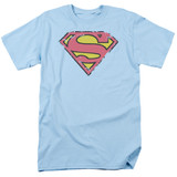 Superman Distressed Shield Adult 18/1 T-Shirt Light Blue