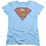 Superman Distressed Shield Women's T-Shirt Light Blue