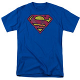 Superman Action Shield Adult 18/1 T-Shirt Royal Blue