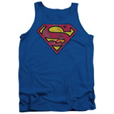 Superman Action Shield Adult Tank Top T-Shirt Royal Blue