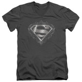 Superman Tribal Steel Logo Adult V-Neck T-Shirt Charcoal