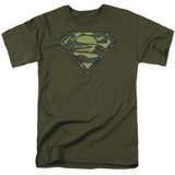 Superman Camo Logo Adult 18/1 T-Shirt Military Green