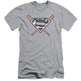 Superman Crossed Bats Adult 30/1 T-Shirt Athletic Heather