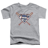 Superman Crossed Bats Toddler T-Shirt Athletic Heather