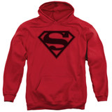 Superman Red And Black Shield Adult Pullover Hoodie Sweatshirt Red