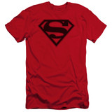 Superman Red And Black Shield Premium Canvas Adult Slim Fit 30/1 T-Shirt Red