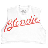 Blondie Tilted Logo Junior Women's Cropped Tank Top T-Shirt White