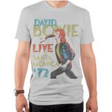 David Bowie Santa Monica Adult T-Shirt Silver