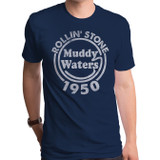 Muddy Waters Rolling Stone Adult T-Shirt Navy Gray