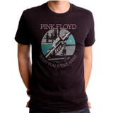 Pink Floyd Here Label Adult T-Shirt Black