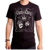 Cheech and Chong Cheech and Chong Whiskey Label Adult T-Shirt Black
