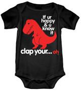 Sad T-Rex Baby Onesie T-Shirt Black Size