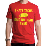 I Hate Tacos Adult T-Shirt Red