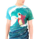 Surfs Up Jesus Adult T-Shirt Sublimated