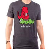 Foodie Dino Adult T-Shirt Heather Black