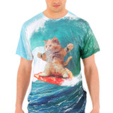 Surfs Up Pizza Cat Sublimated Adult T-Shirt