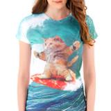 Surfs Up Pizza Cat Junior Women's T-Shirt Sublimated