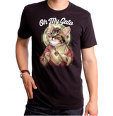 Oh My Gato Adult T-Shirt Black